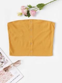 Press Button Front Rib-knit Bandeau Top