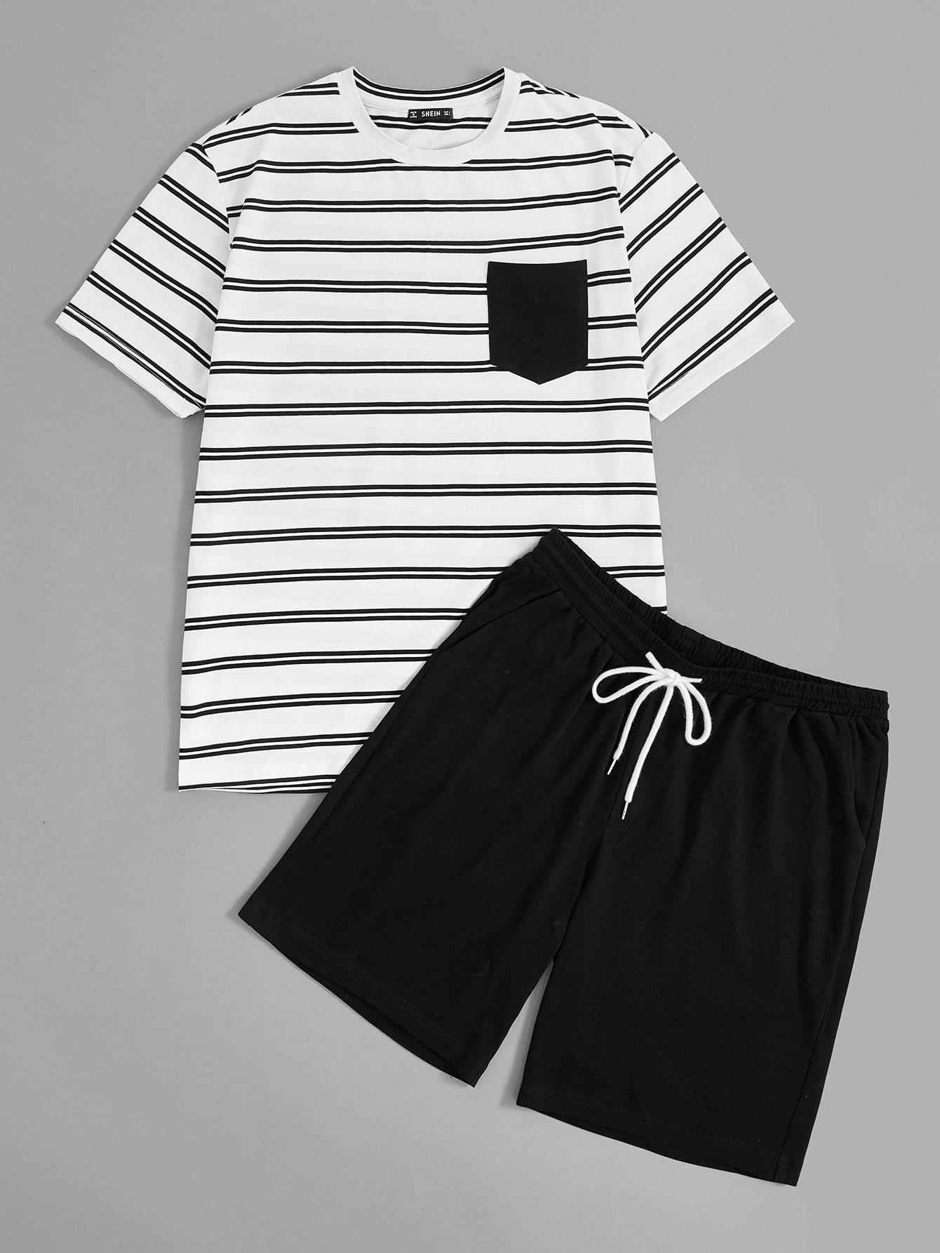 Купить Мужская полосатая футболка с карманом и шорты с кулиской пижама комплект, null, SheIn