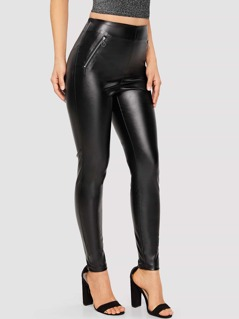 Zipper Up Solid PU Pants