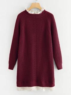 Contrast Lace Neckline Raglan Sleeve Sweater