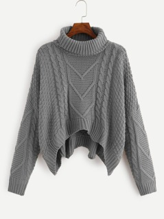 Turtle Neck Cable Knit Crop Sweater