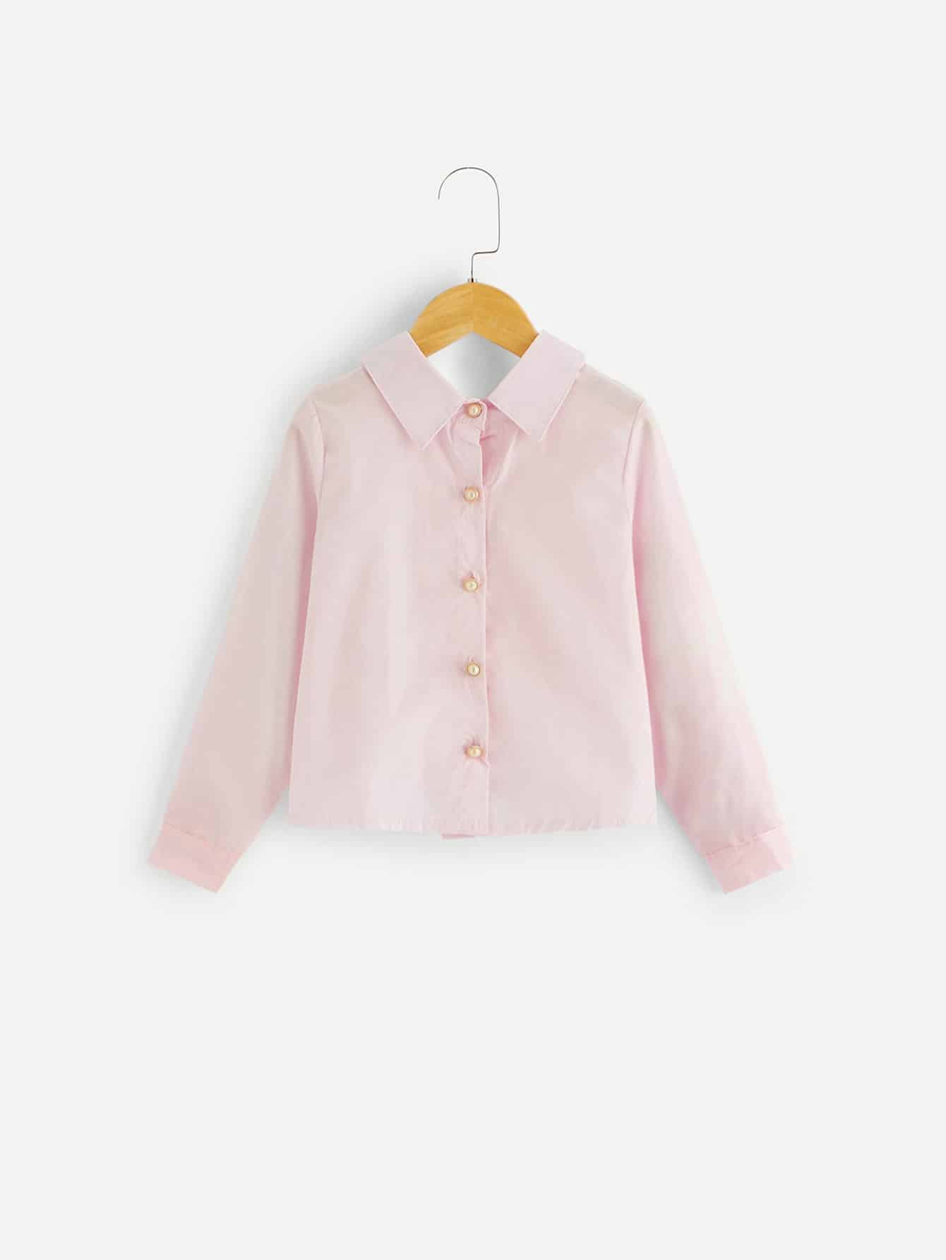 Купить Простая блуза со складками назад для девочек, null, SheIn