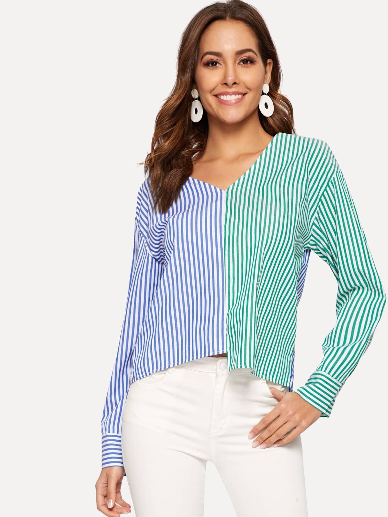Купить Контрастная плоская полосатая блуза с V-образным вырезом, Giulia, SheIn