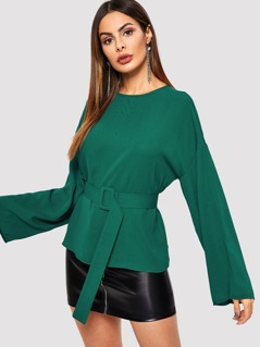Keyhole Back Bell Sleeve Buckle Belted Top
