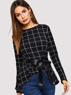 Self Belted Asymmetrical Hem Grid Top