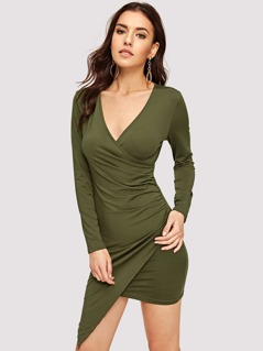 Wrap Ruched Asymmetrical Bodycon Dress