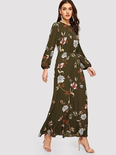 Covered Button Sleeve Floral Maxi Dress