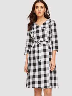 Double Breasted Wrap O-ring Belted Plaid Dress