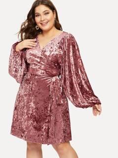 Plus Lantern Sleeve Surplice Wrap Velvet Dress