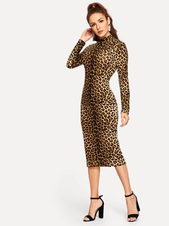 Mock-neck Slim Fitted Leopard Dress