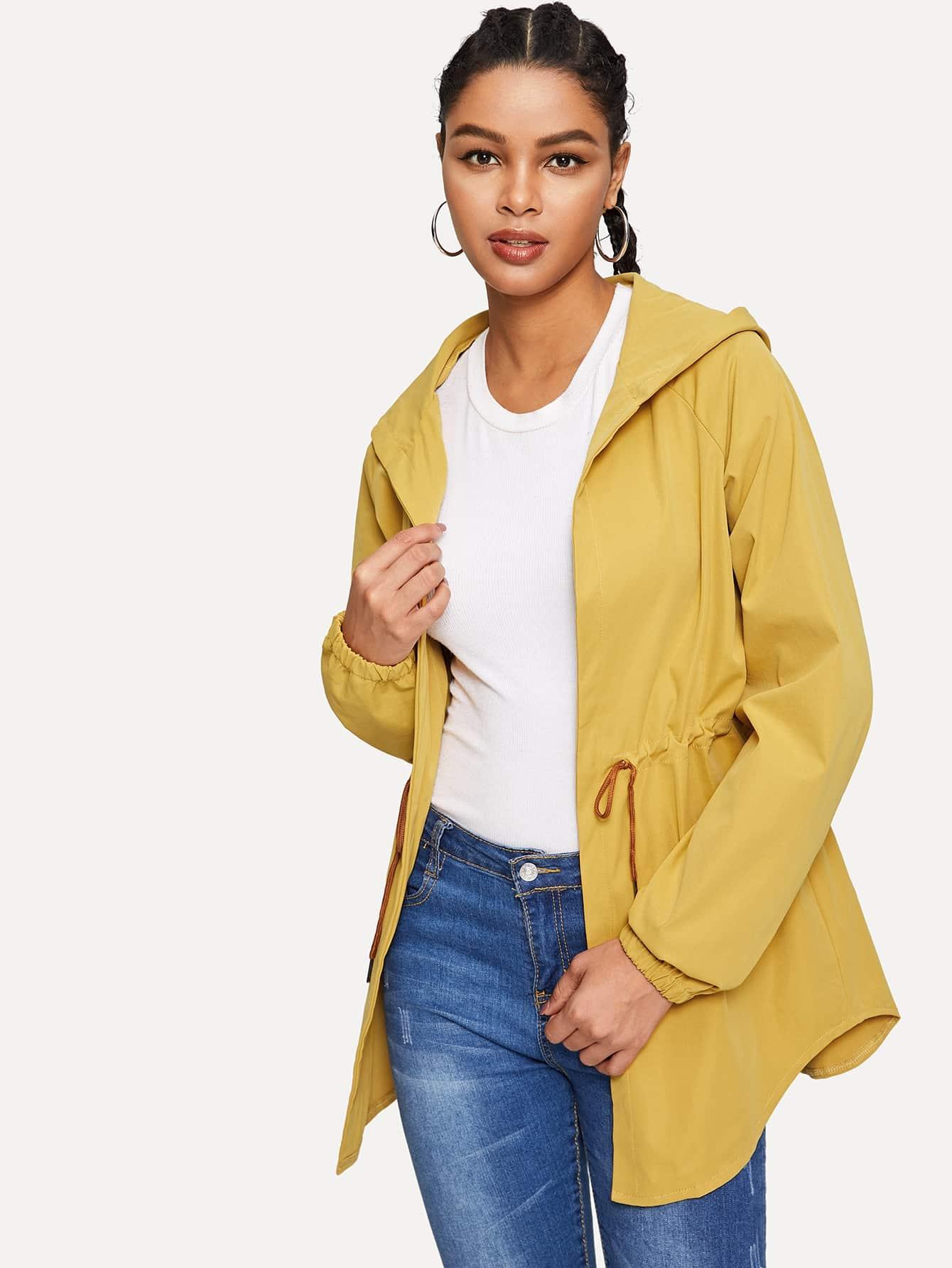 Пальто с капюшоном и выгнутым подолом SheIn