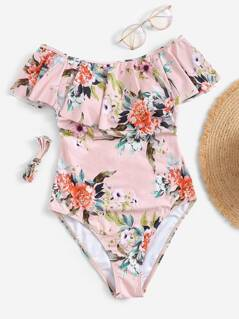 Random Flounce Foldover Open Back Floral One Piece Swimsuit
