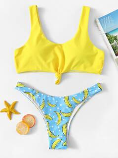 Random Bandeau Top With High Leg Banana Bikini Set