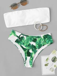 Random Solid Bandeau Top With Tropical Bikini Set