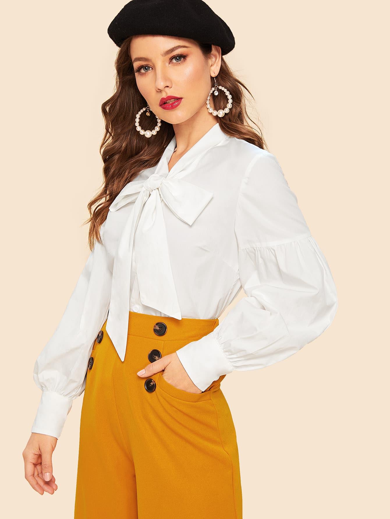 Купить 80s блузка с завязкой на шее и оригинальным рукавом, Debi Cruz, SheIn