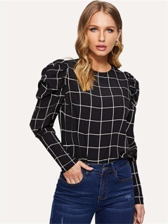 Puff Sleeve Grid Pullover