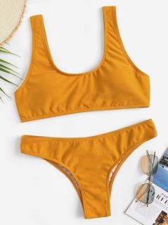 Scoop Neck Textured Top With Seam Trim Bikini Set