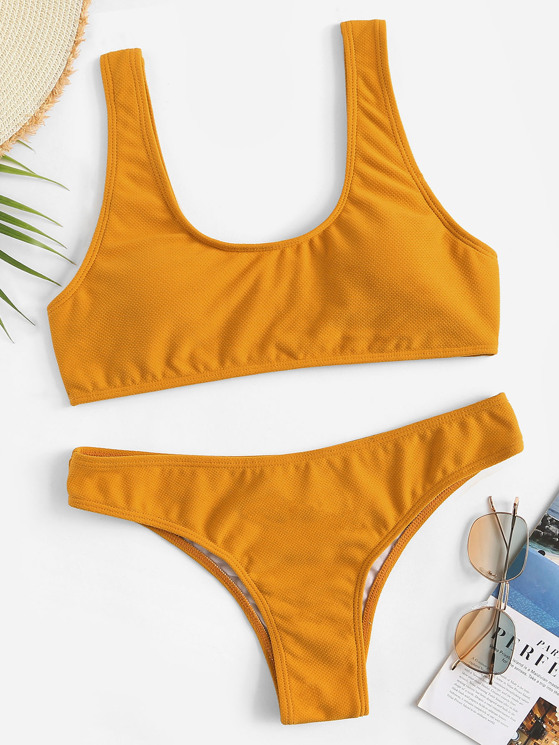 4815f866db5a Scoop Neck Textured Top With Seam Trim Bikini Set | MakeMeChic.COM