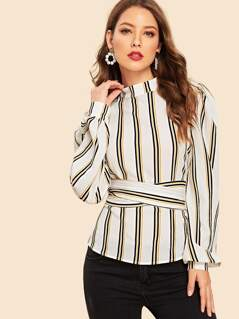 90s Bishop Sleeve Belted Striped Top