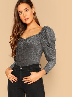 Gigot Sleeve Sweetheart Neck Glitter Top