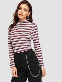 Mock-neck Rib Knit Striped Tee