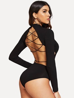 Criss-cross Backless Form Fitting Bodysuit