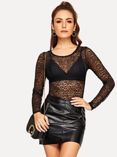 Form Fitted Sheer Lace Top Without Bra