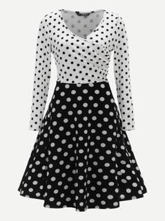Two Tone Wrap Polka Dot Flared Dress
