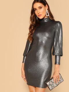Keyhole Back Mock-neck Metallic Pencil Dress