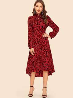 Tie Neck High Low Hem Leopard Print Dress