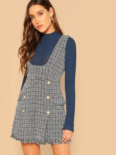 Frayed Trim Double Button Tweed Dress