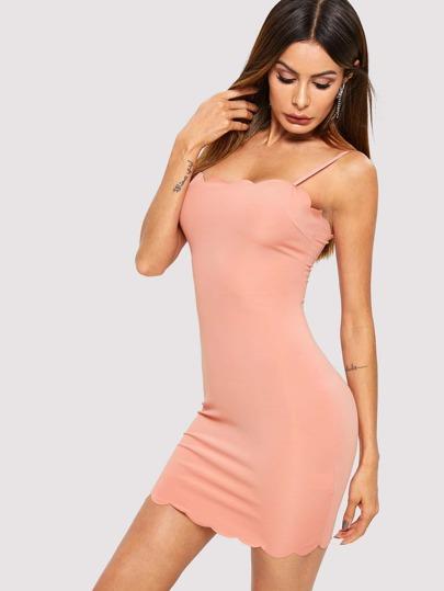Scalloped Edge Bodycon Cami Dress