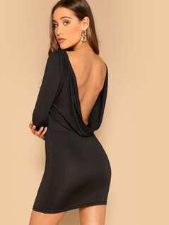Draped Back Bodycon Dress