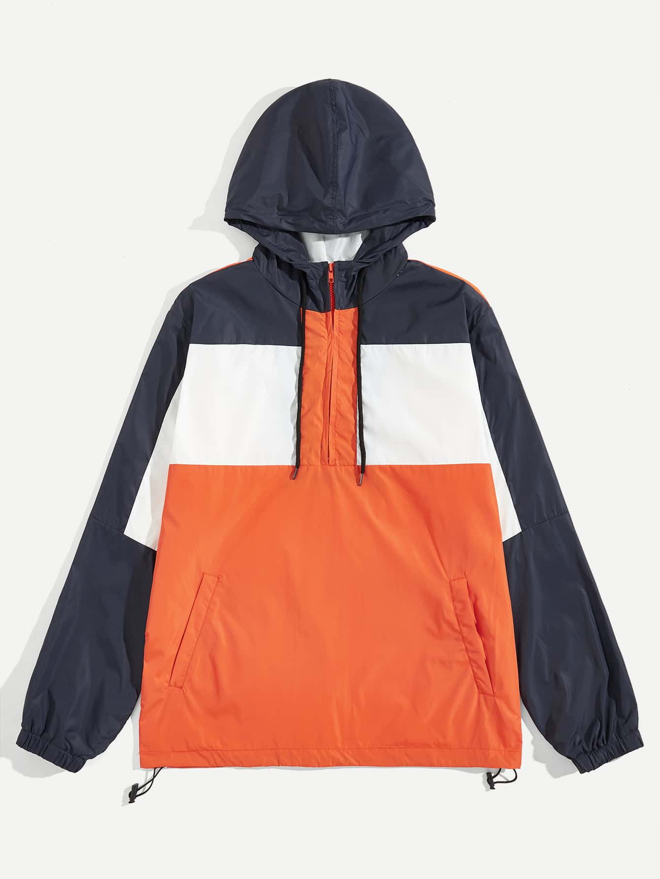 Купить Мужская контрастная куртка с капюшоном, null, SheIn