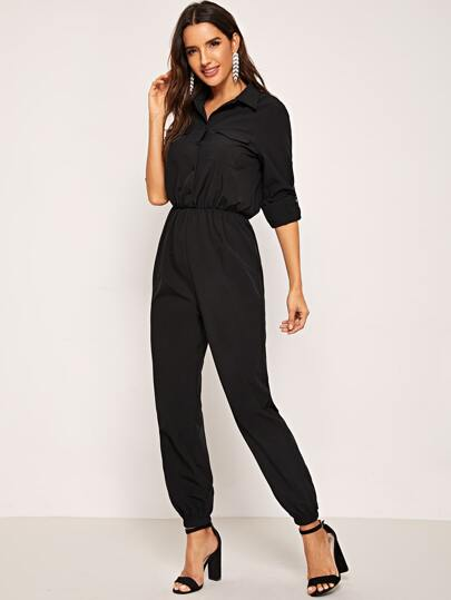 SheIn / Button Front Flap Pocket Solid Shirt Jumpsuit