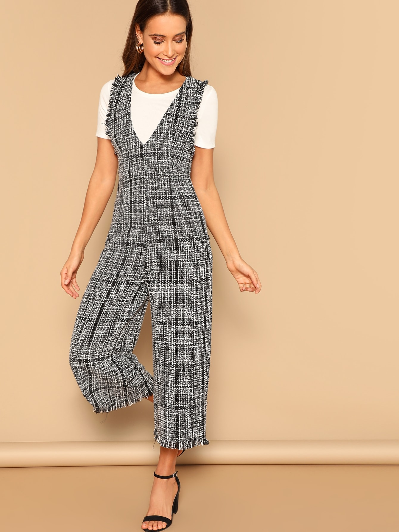 f78c69c37d6b Slant Pocket Tweed Jumpsuit