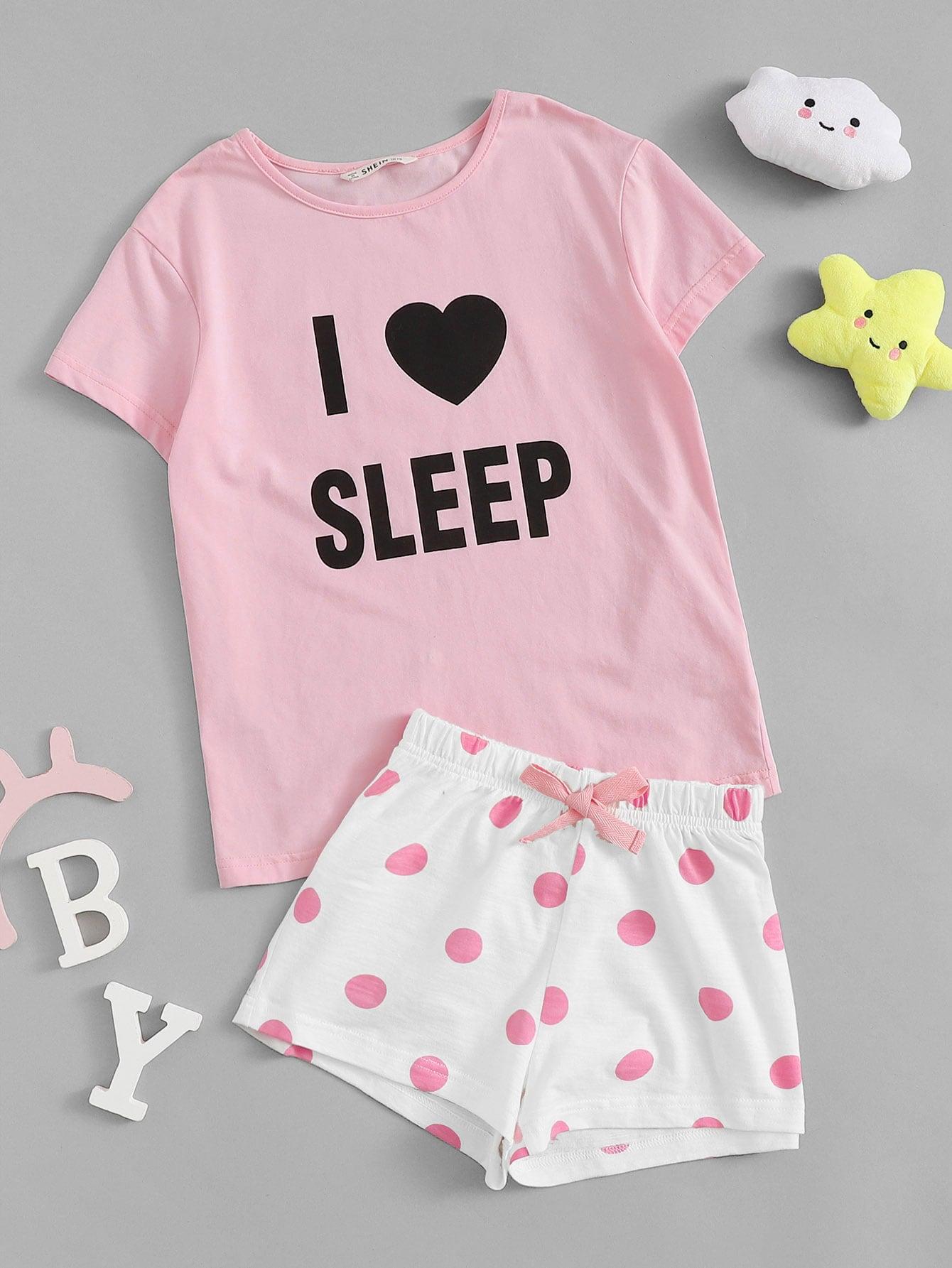 Купить Пижамный комплект с текстовым принтом на топе и шортами в горох для девочек, null, SheIn
