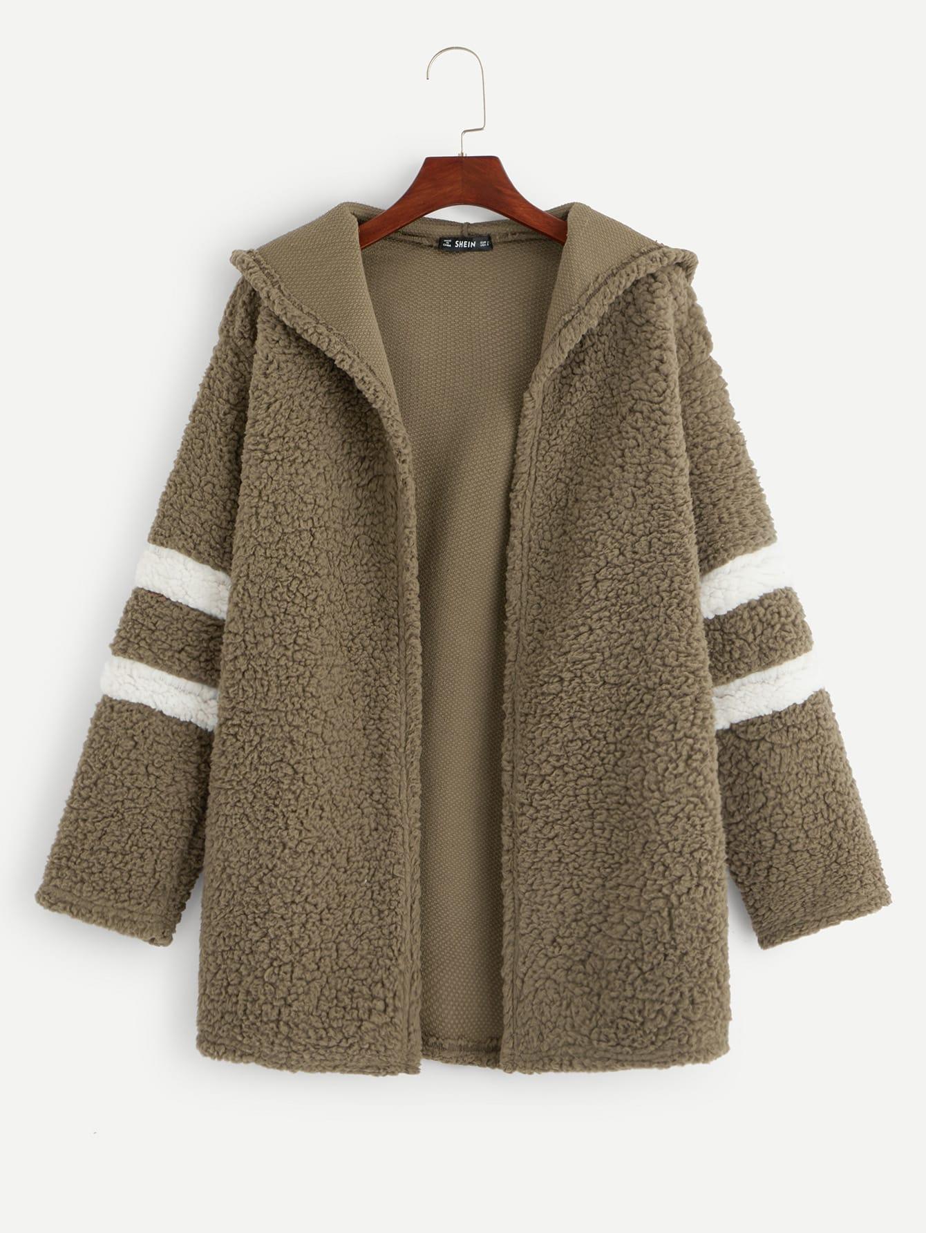 Купить Пушистое пальто с капюшоном и полосками, null, SheIn