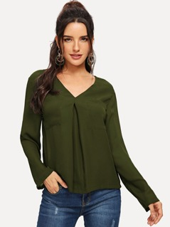V Neck Pleated Front Top
