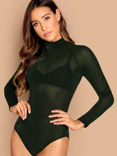 Cutout Mock-neck Glitter Bodysuit