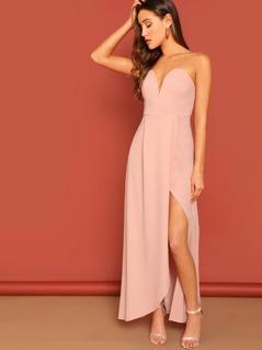 Zip Back Slit Hem Strapless Maxi Dress