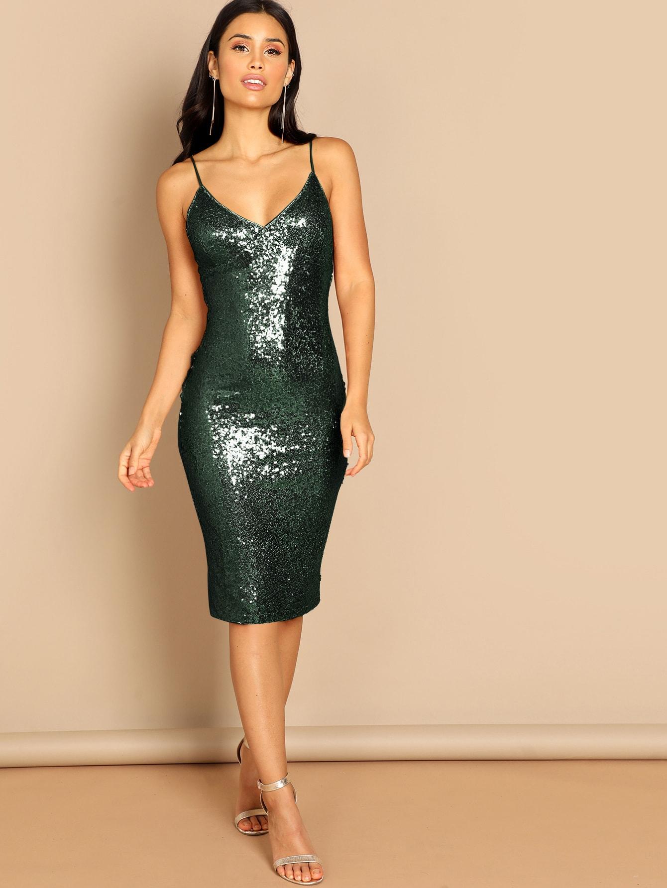 Купить Облегающее платье из пайеток и молнией сзади, Izzy Marshall, SheIn