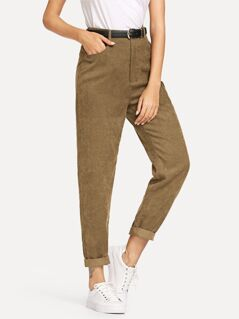Pocket Detail Zipper Fly Corduroy Pants