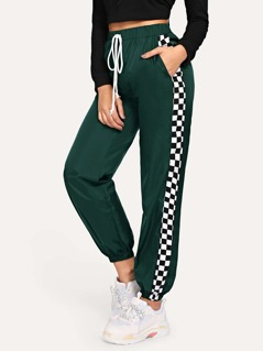 Checked Side Seam Elastic Hem Pants