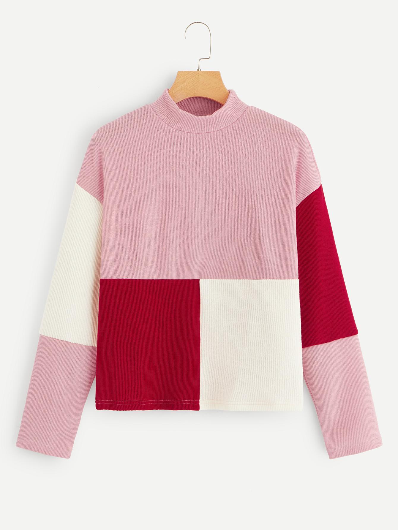 Купить Вязяный ребристый контрастный пуловер со стоячим воротником, null, SheIn
