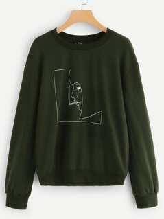 Drop Shoulder Figure Print Pullover