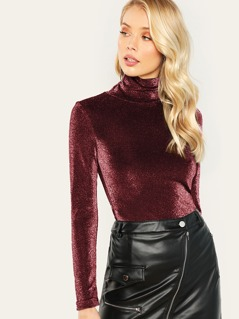 High Neck Form Fitting Glitter Tee