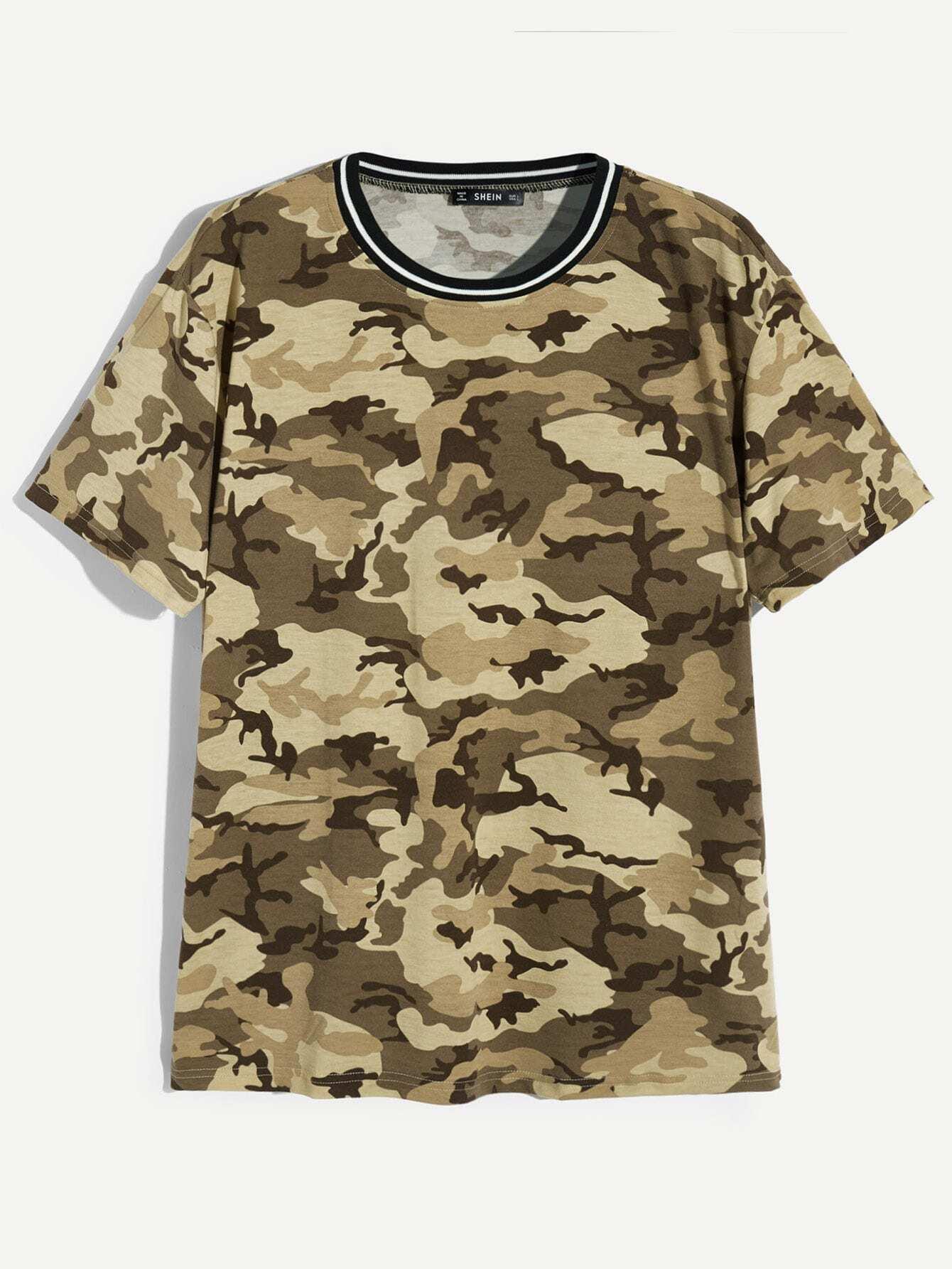 Купить Мужская камуфляжная футболка с полосатым воротником, null, SheIn