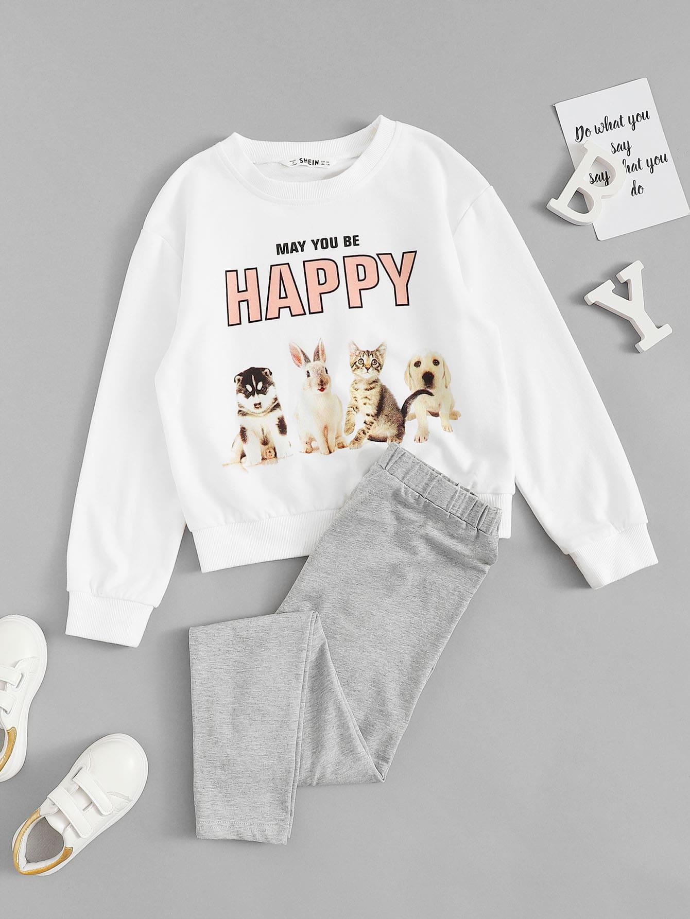Купить Пуловер с текстовым и графическим принтом и брюки комплект для девочек, null, SheIn