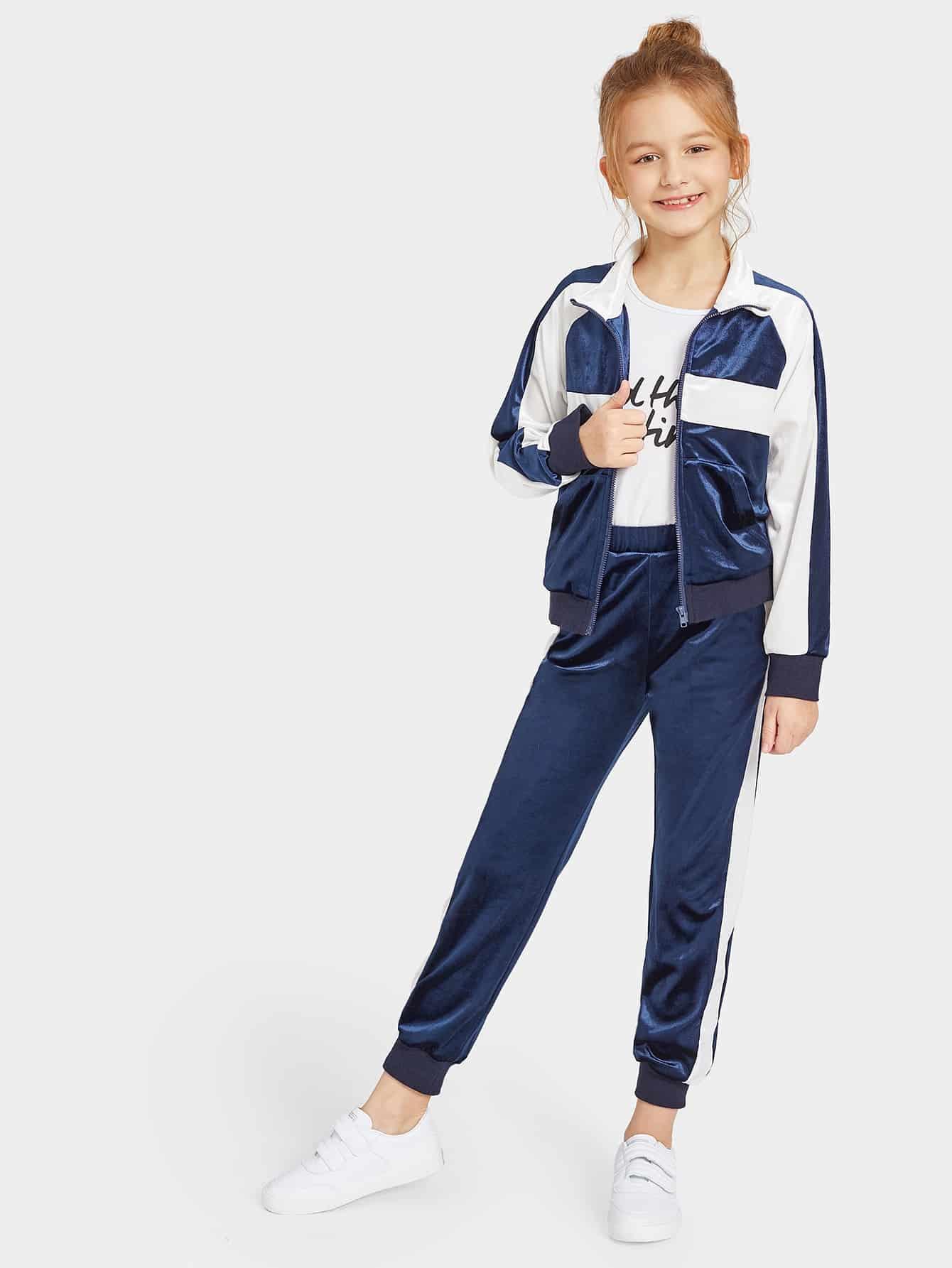 Купить Контрастная бархатная куртка на молнии и бархатные брюки для девочек, Sashab, SheIn